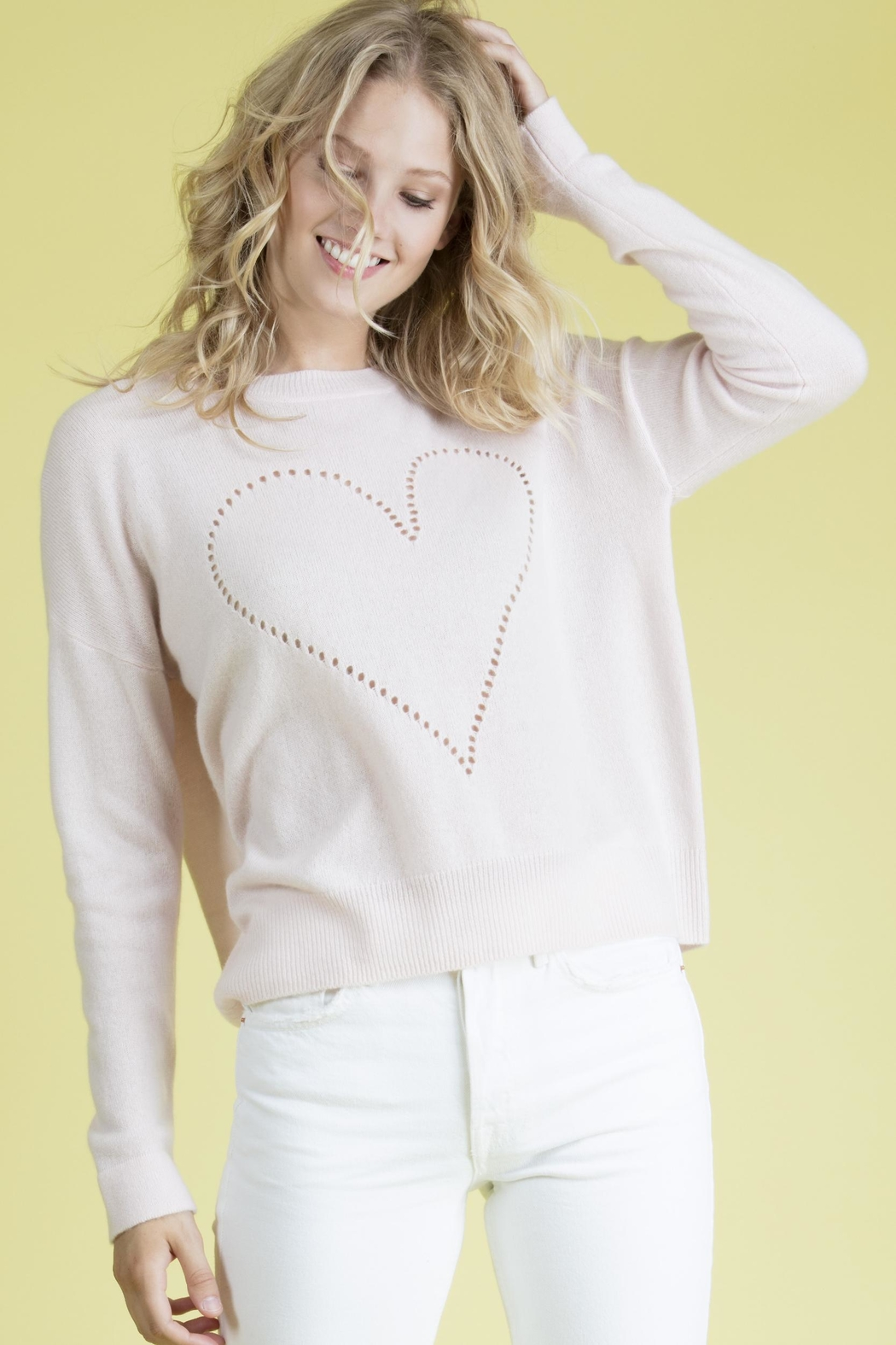 27 Miles Malibu Pointelle Heart Sweater - Front Full Image