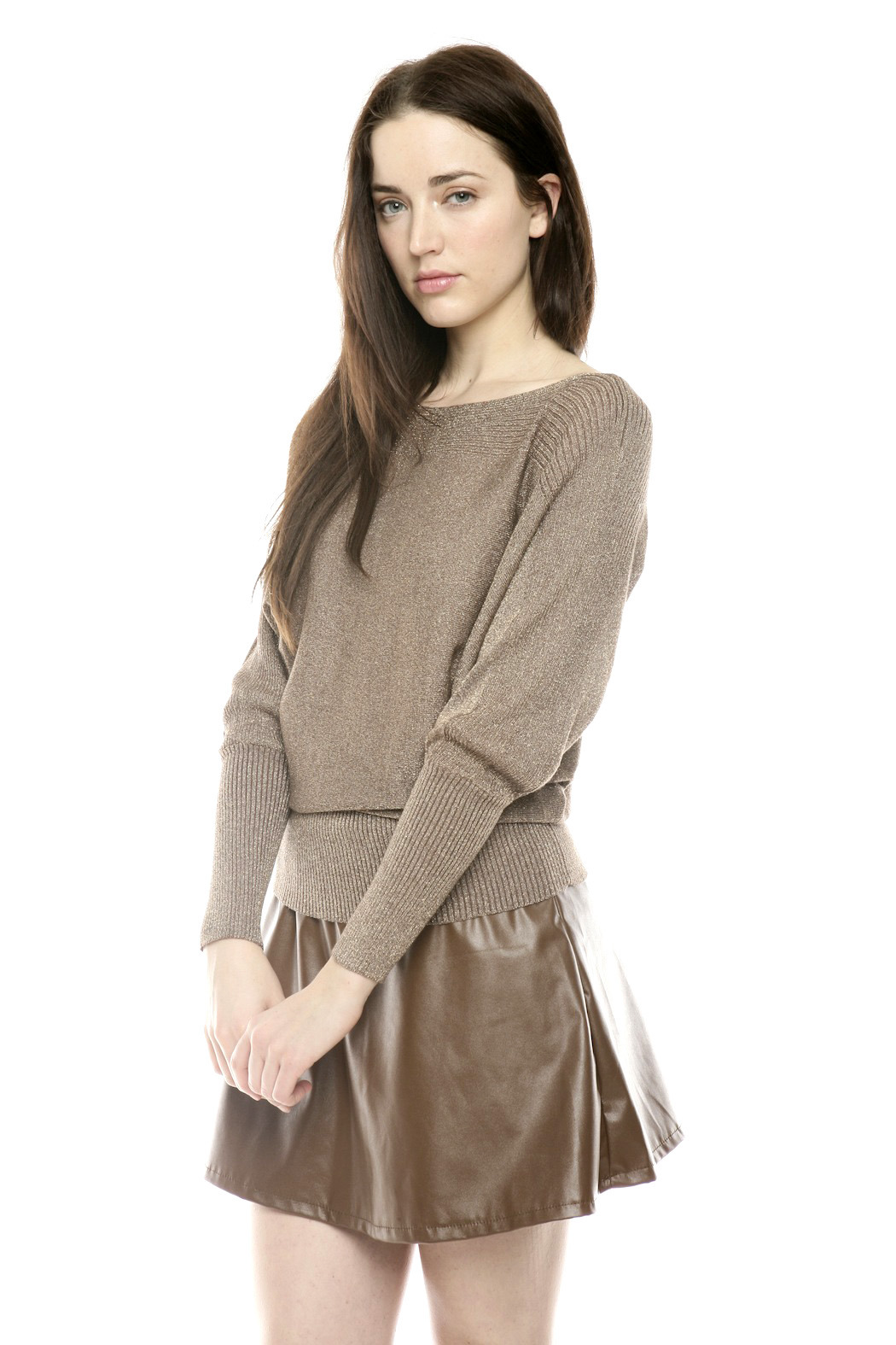 Casting Metallic Scoop-Neck Sweater - Side Cropped Image