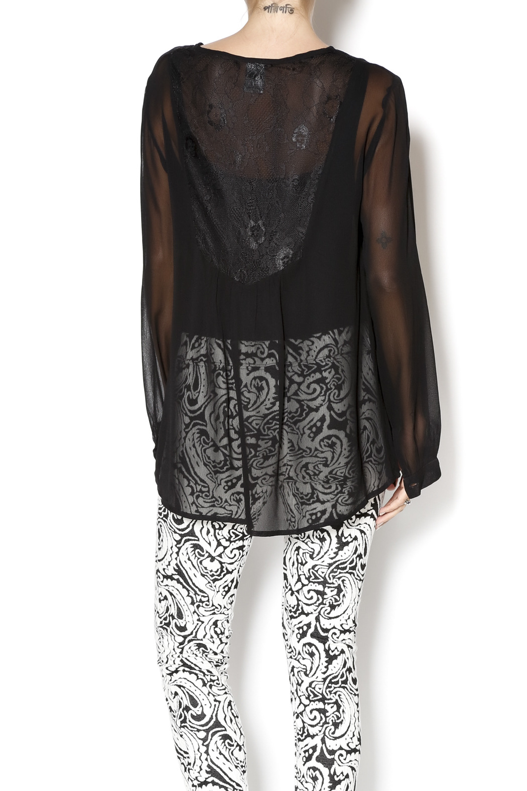 casual studio Black Sheer Blouse - Back Cropped Image
