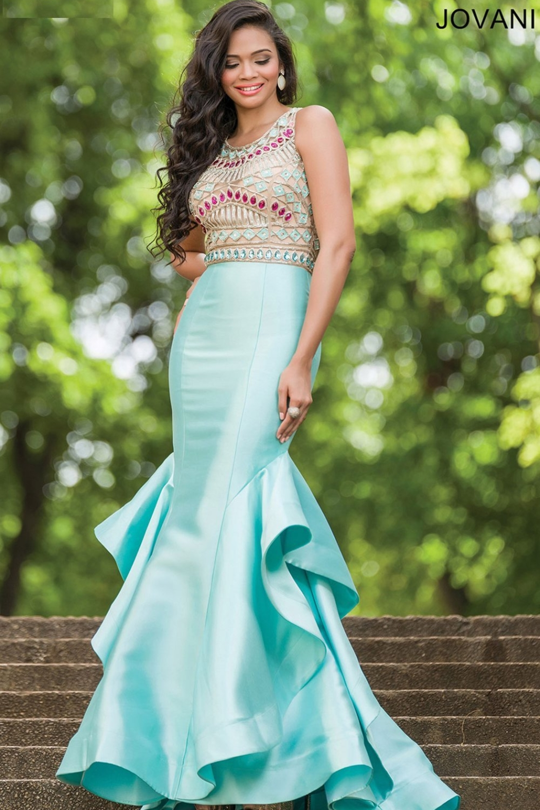 Jovani 28432A - Beaded Top with Ruffled Trumpet Skirt Gown - Front Cropped Image