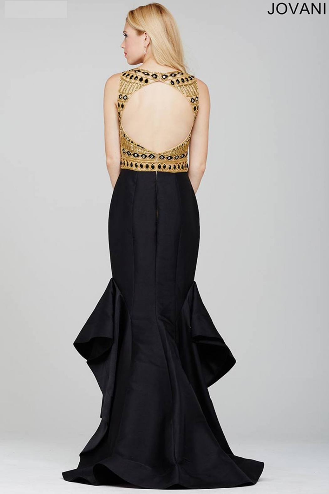 Jovani 28432A - Beaded Top with Ruffled Trumpet Skirt Gown - Main Image