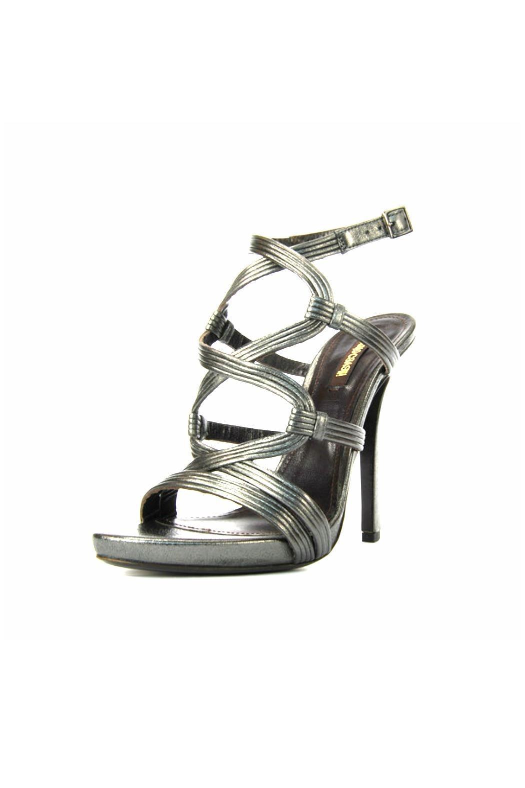 Roberto Cavalli Pewter Strappy Sandal - Front Full Image
