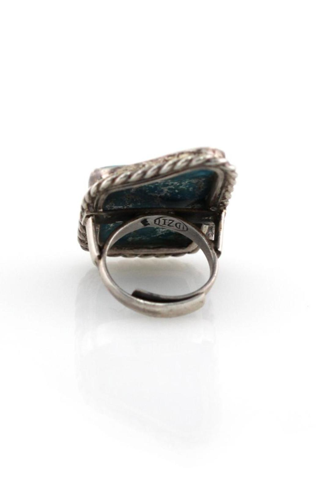 Natalie B Turquoise Silver Ring - Back Cropped Image