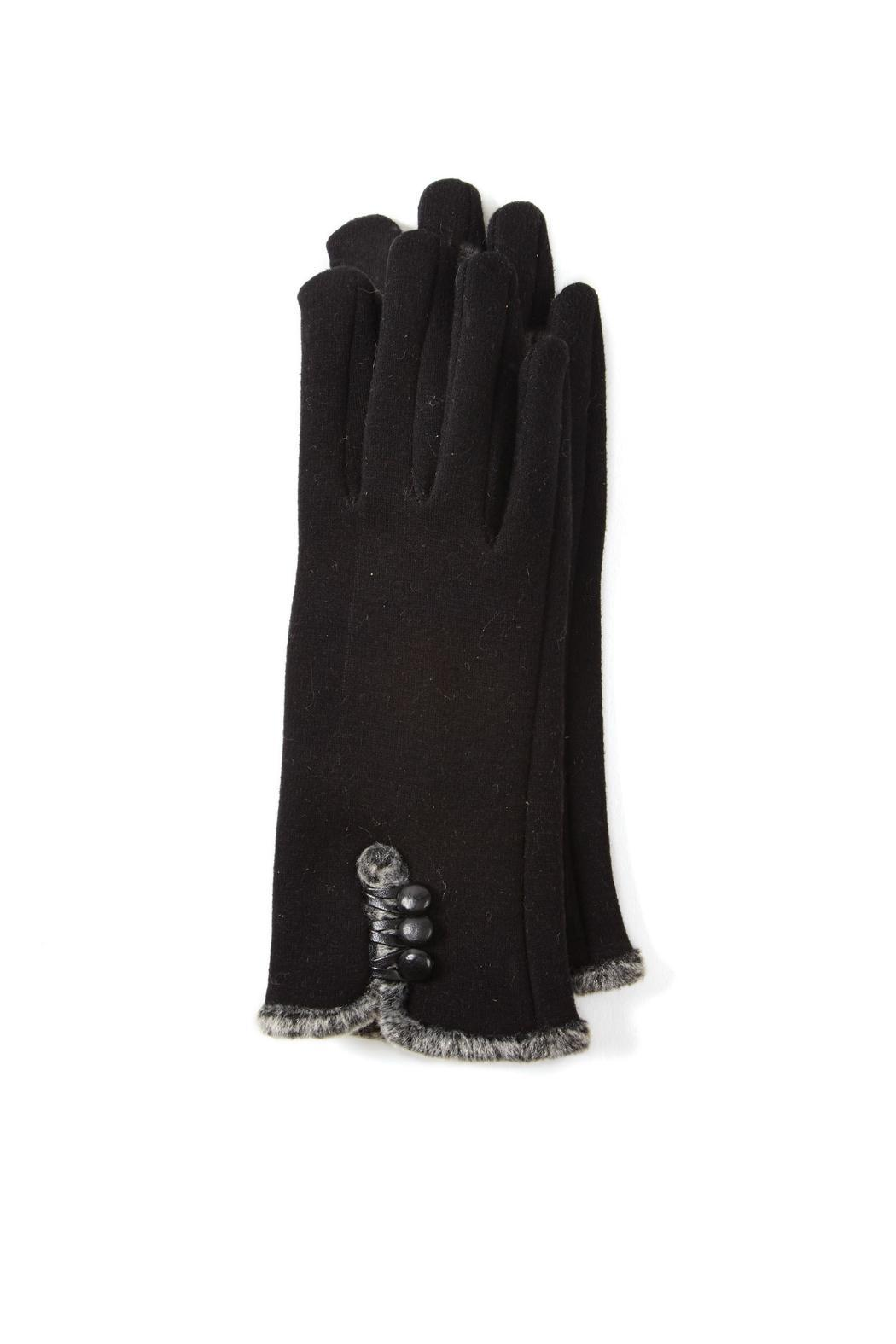 2 Chic Black Button Glove - Front Cropped Image