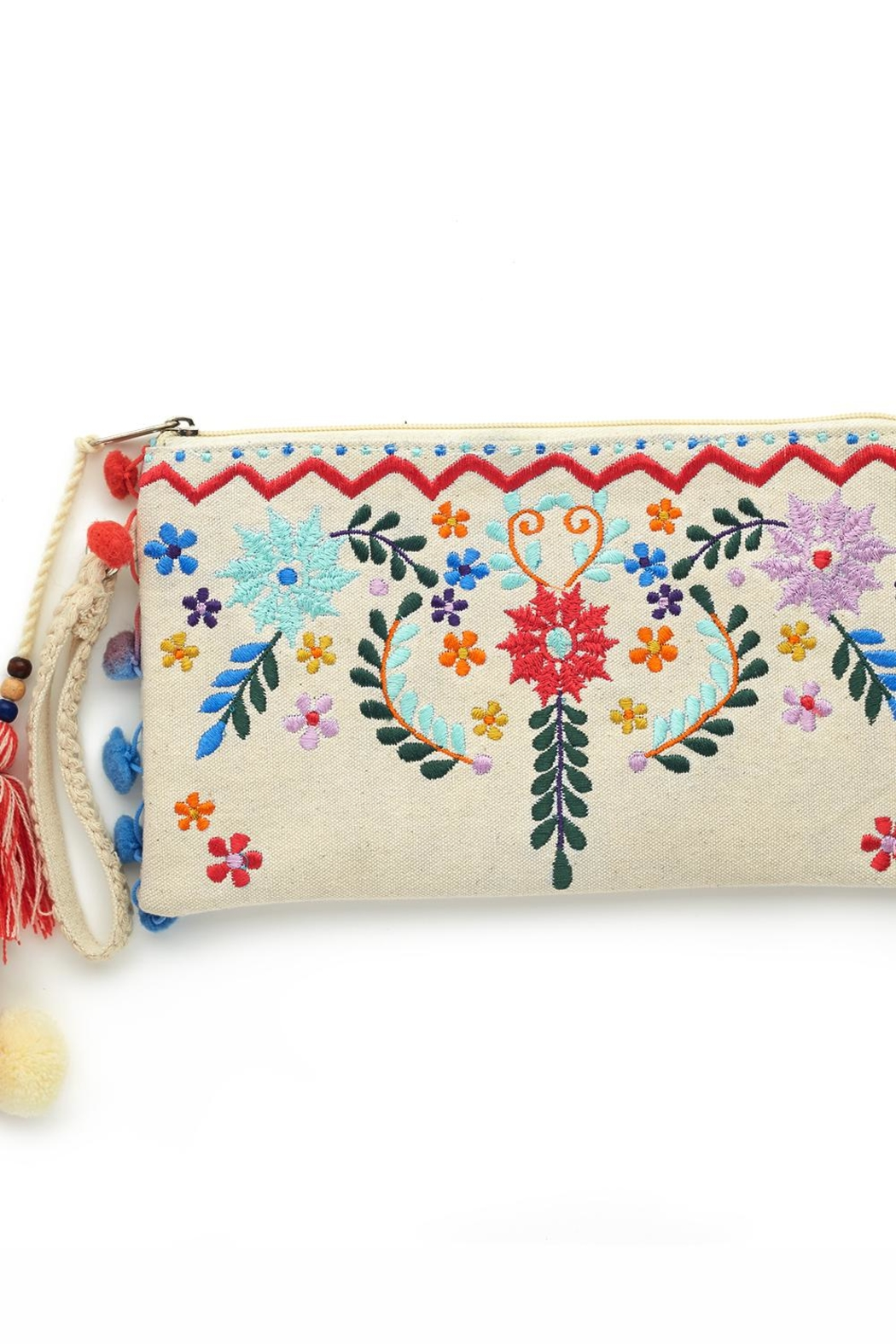2 Chic Embroidered Flower Clutch - Front Cropped Image