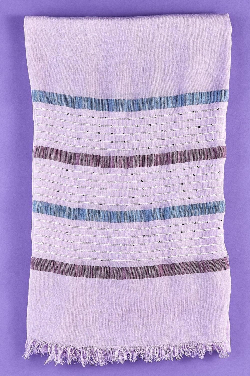 2 Chic Lilac Woven Scarf With Sequin Stripes - Front Full Image