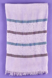 2 Chic Lilac Woven Scarf With Sequin Stripes - Front full body