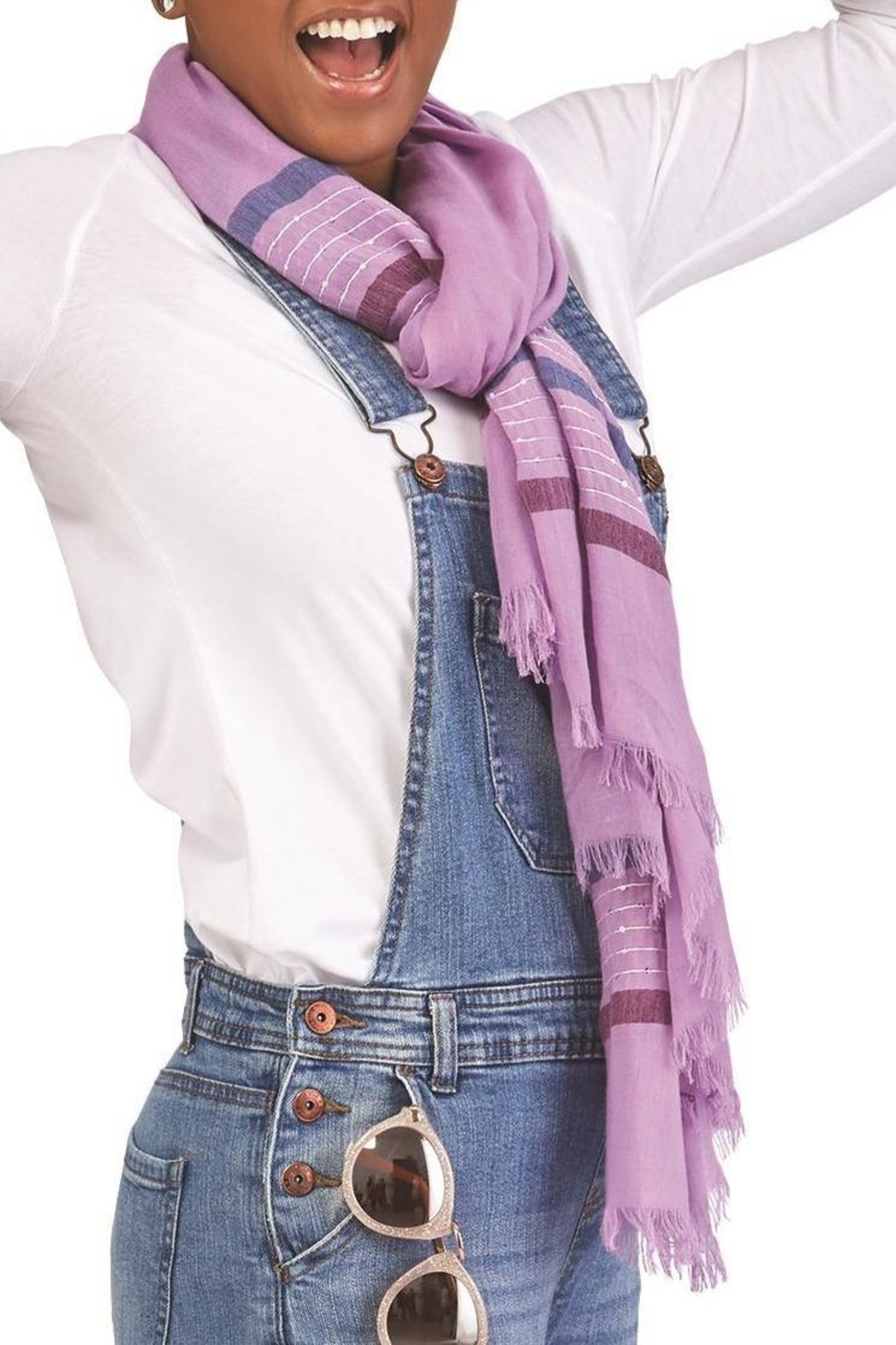2 Chic Lilac Woven Scarf With Sequin Stripes - Main Image