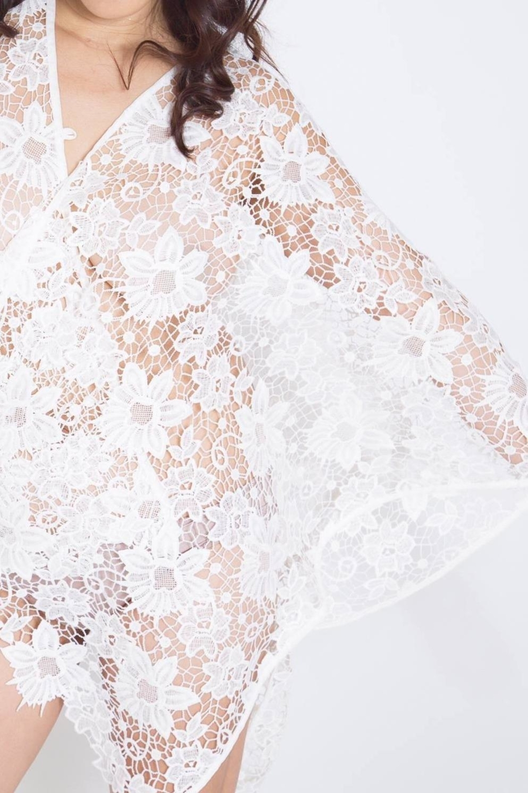 2 Chic White Lace Coverlet - Back Cropped Image
