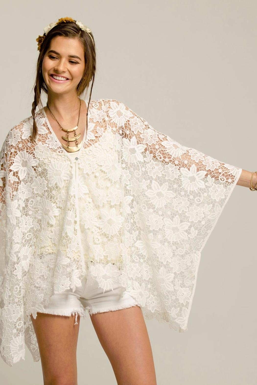 2 Chic White Lace Coverlet - Front Full Image