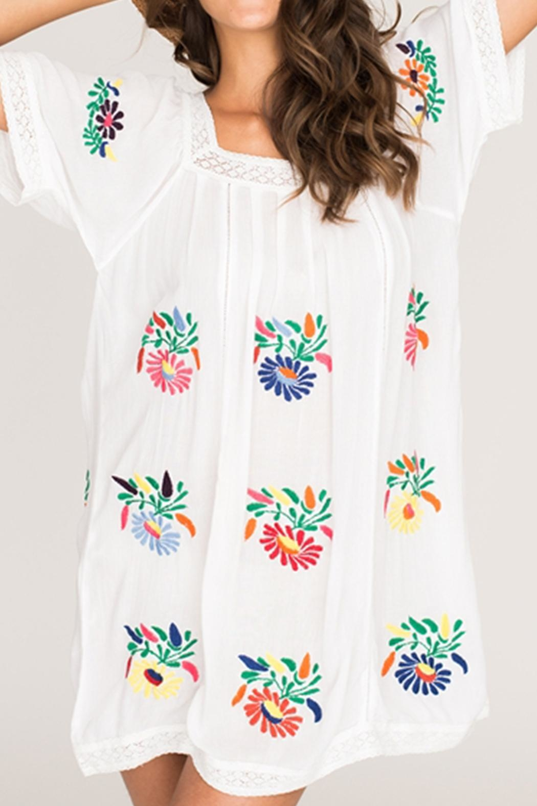 2 Chic Luxe Colorful Embroidered Sundress - Front Full Image