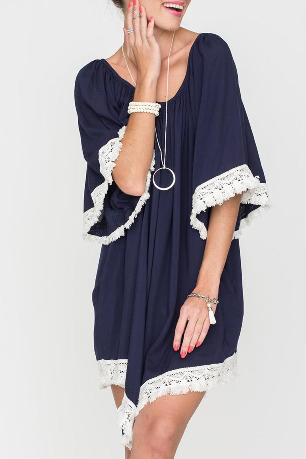 2 Chic Luxe Off-Shoulder Navy Dress - Front Full Image