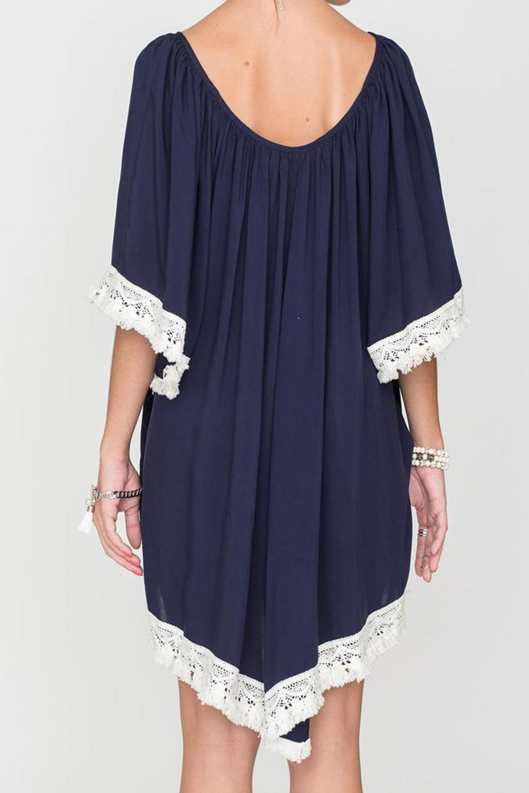 2 Chic Luxe Off-Shoulder Navy Dress - Side Cropped Image