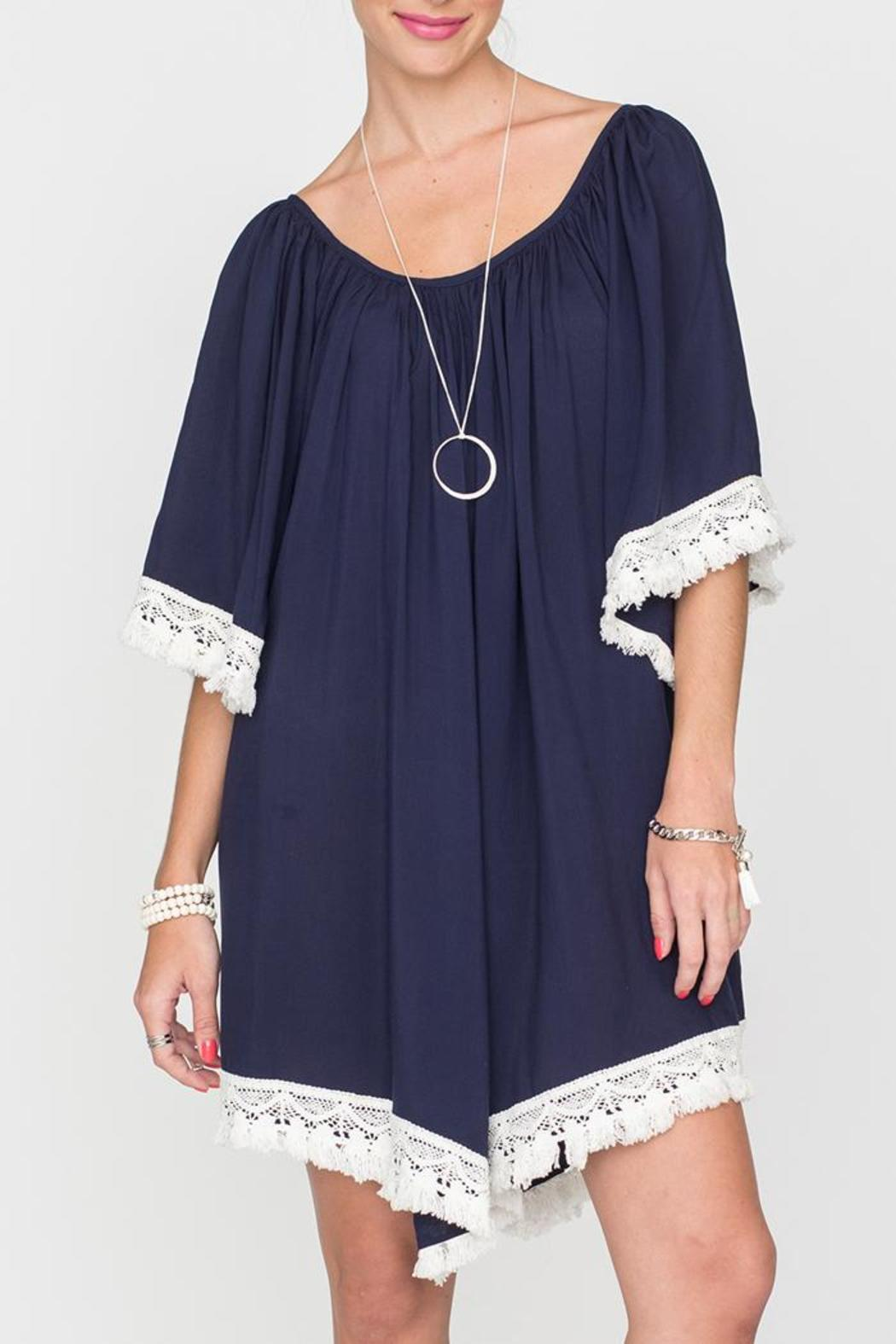 2 Chic Luxe Off-Shoulder Navy Dress - Main Image