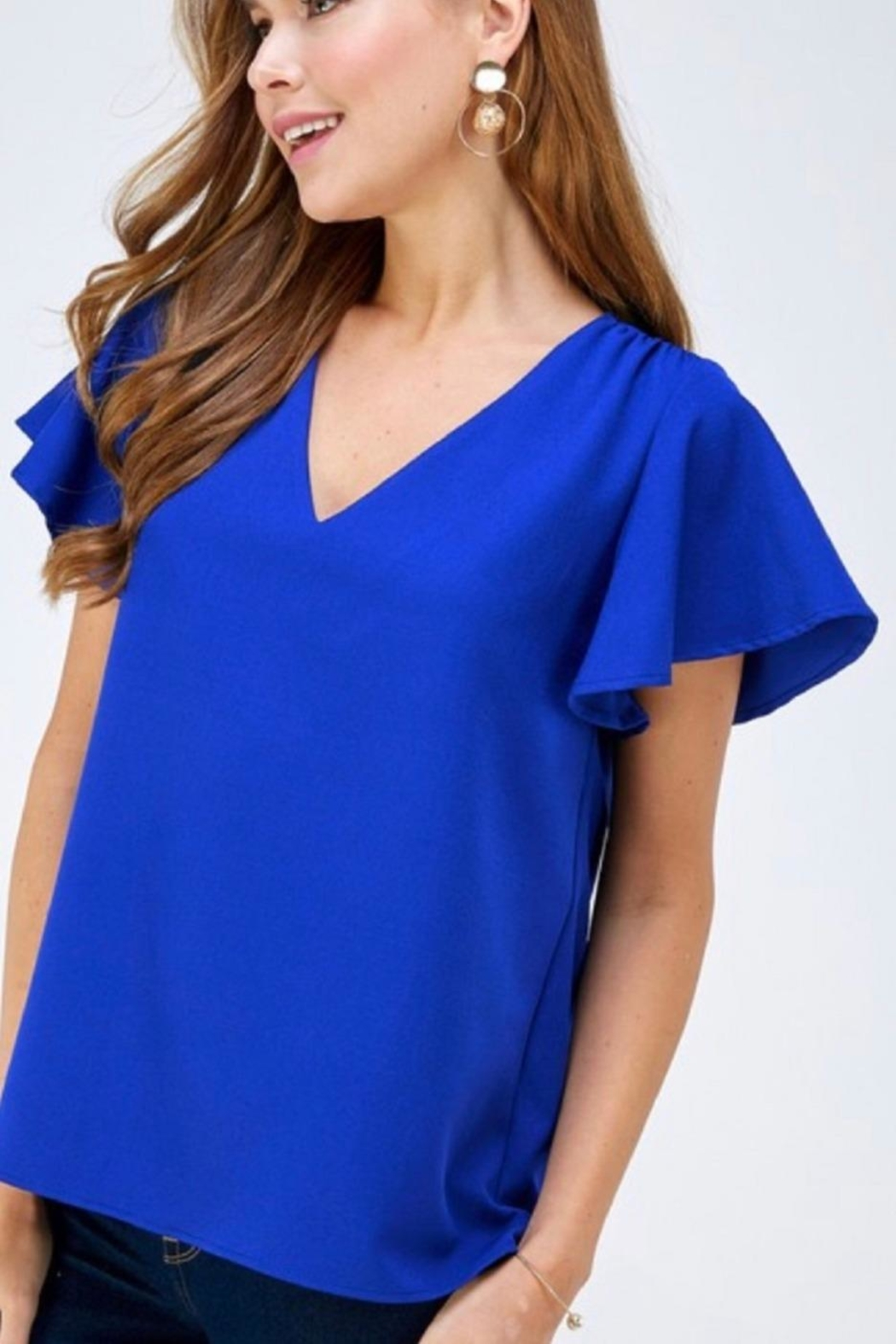 2 Hearts Blue Shortsleeve Blouse - Front Cropped Image