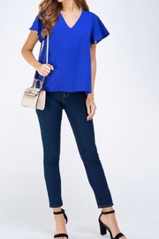 2 Hearts Blue Shortsleeve Blouse - Side cropped