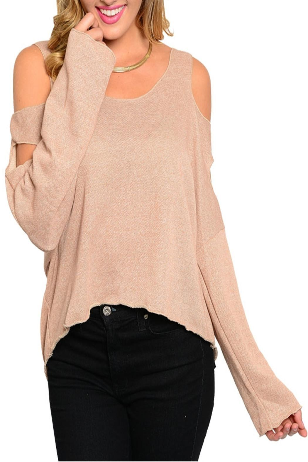 2 Hearts Nude Cutout Top - Front Cropped Image