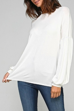 2 Hearts Solid Bubblesleeve Blouse - Product List Image