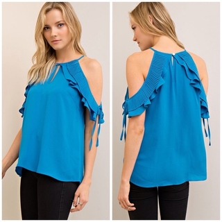 Shoptiques Product: Blue Open Shoulder Top