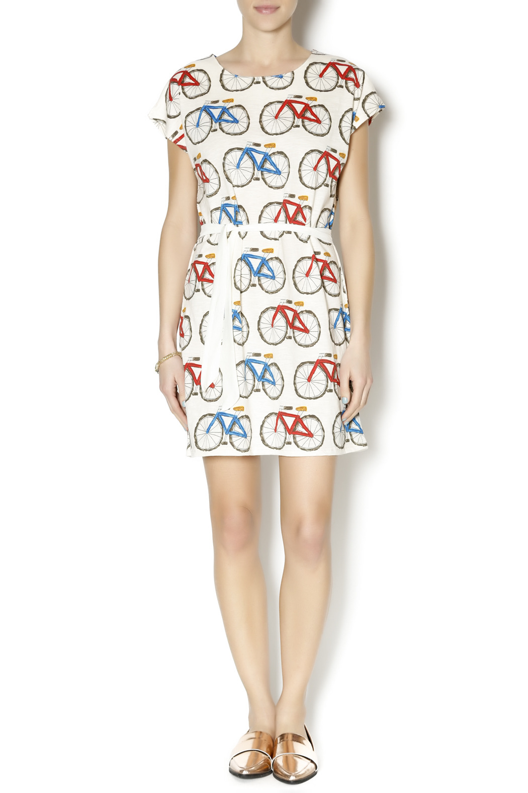 Pinkyotto Bicycle Shift Dress - Front Full Image