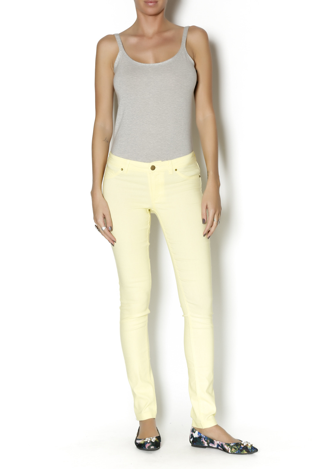 Karlie Neon Yellow Jeggings - Front Full Image