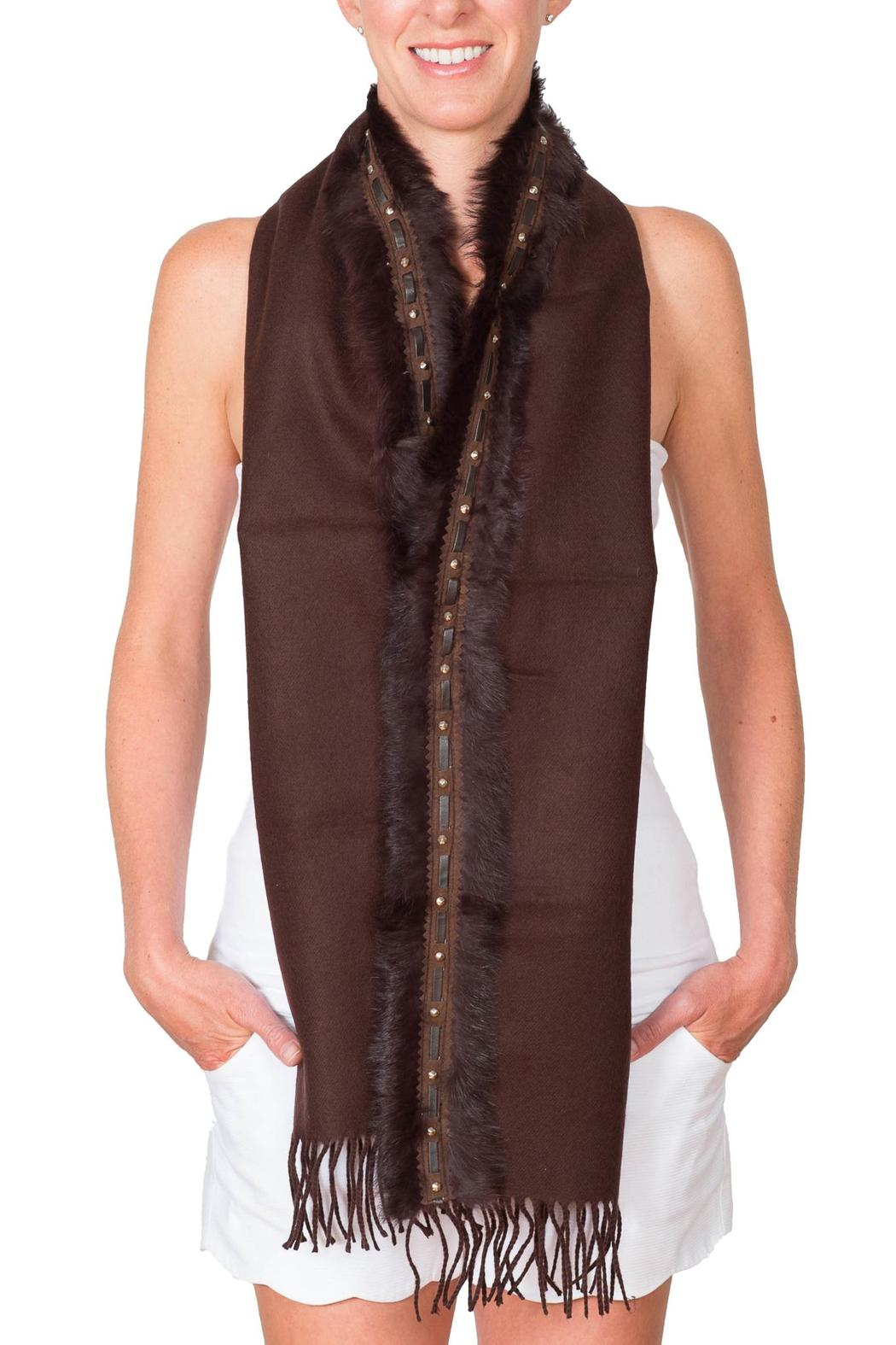 CLAIRE FLORENCE Fur Travel Mini Scarf - Front Full Image