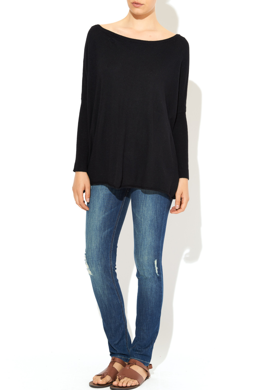 InStyle Black Dolman Sweater - Front Full Image