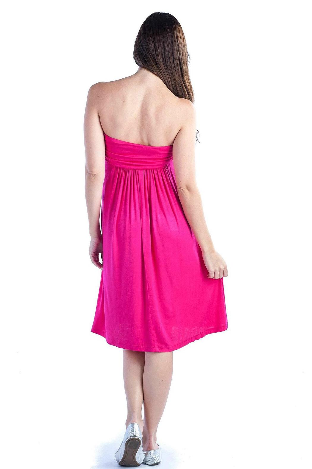 24/7 Comfort Apparel Empire-Tube Strapless Dress - Back Cropped Image