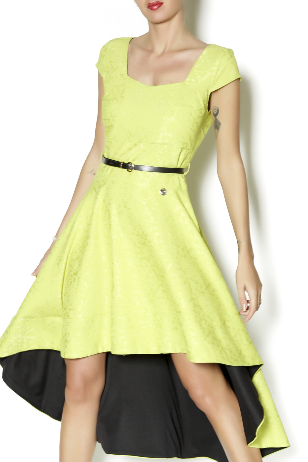 Biscuit Asymmetric Flare Dress - Front Cropped Image