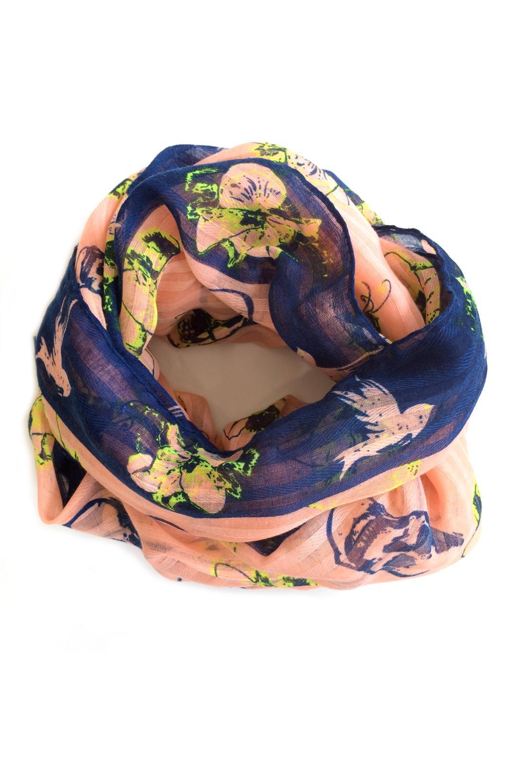 Blu Lua Hibiscus & Skull Scarf - Back Cropped Image