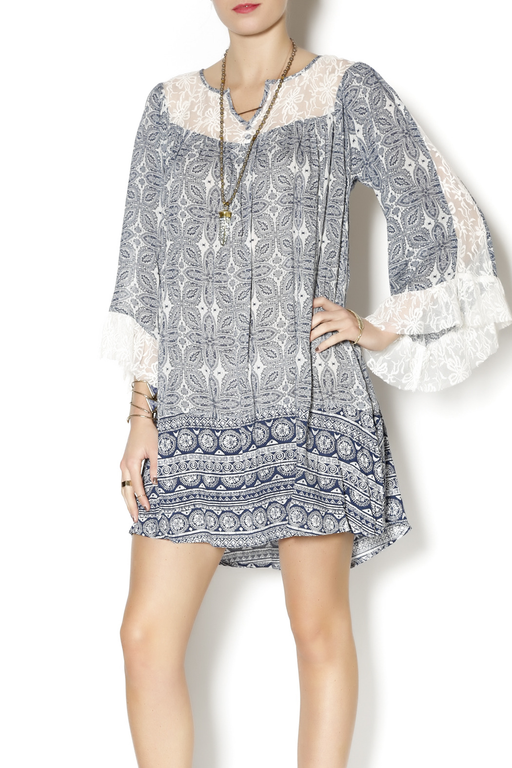 Umgee USA Blue Boho Dress - Main Image