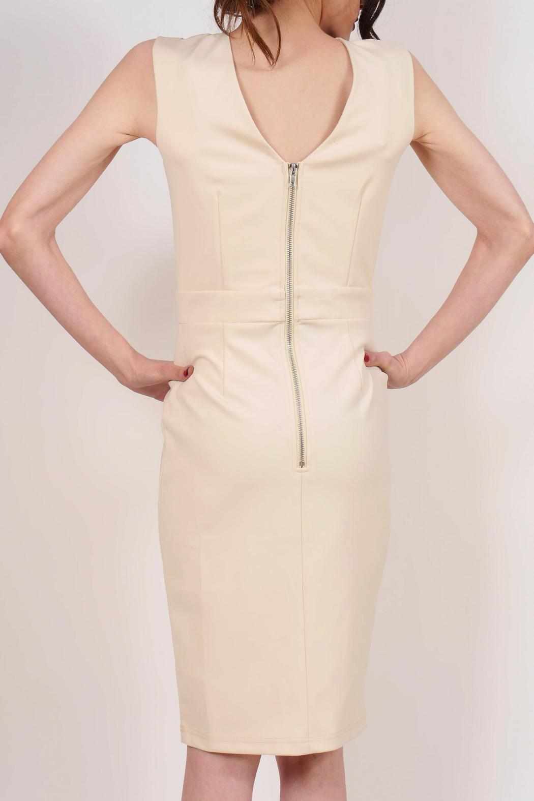 Little Mistress Cream Cocktail Dress - Back Cropped Image