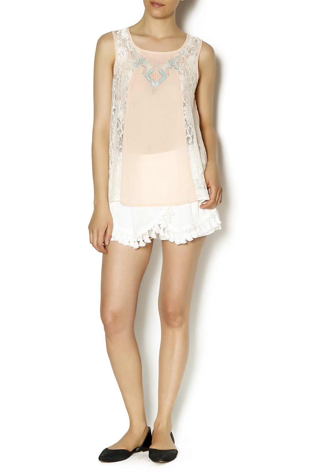 Blu Pepper Peach Embroidered Top - Front Full Image