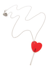 Tatty Devine Silver Lollypop Necklace - Front full body