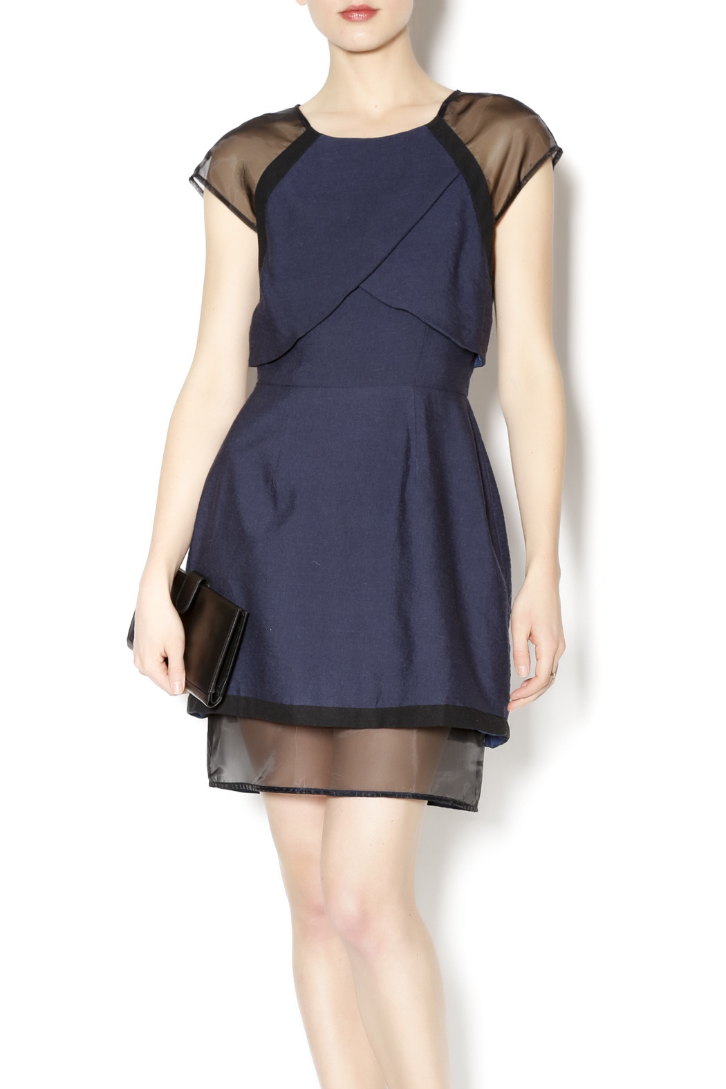 C/MEO COLLECTIVE Navy and Sheer Dress - Main Image