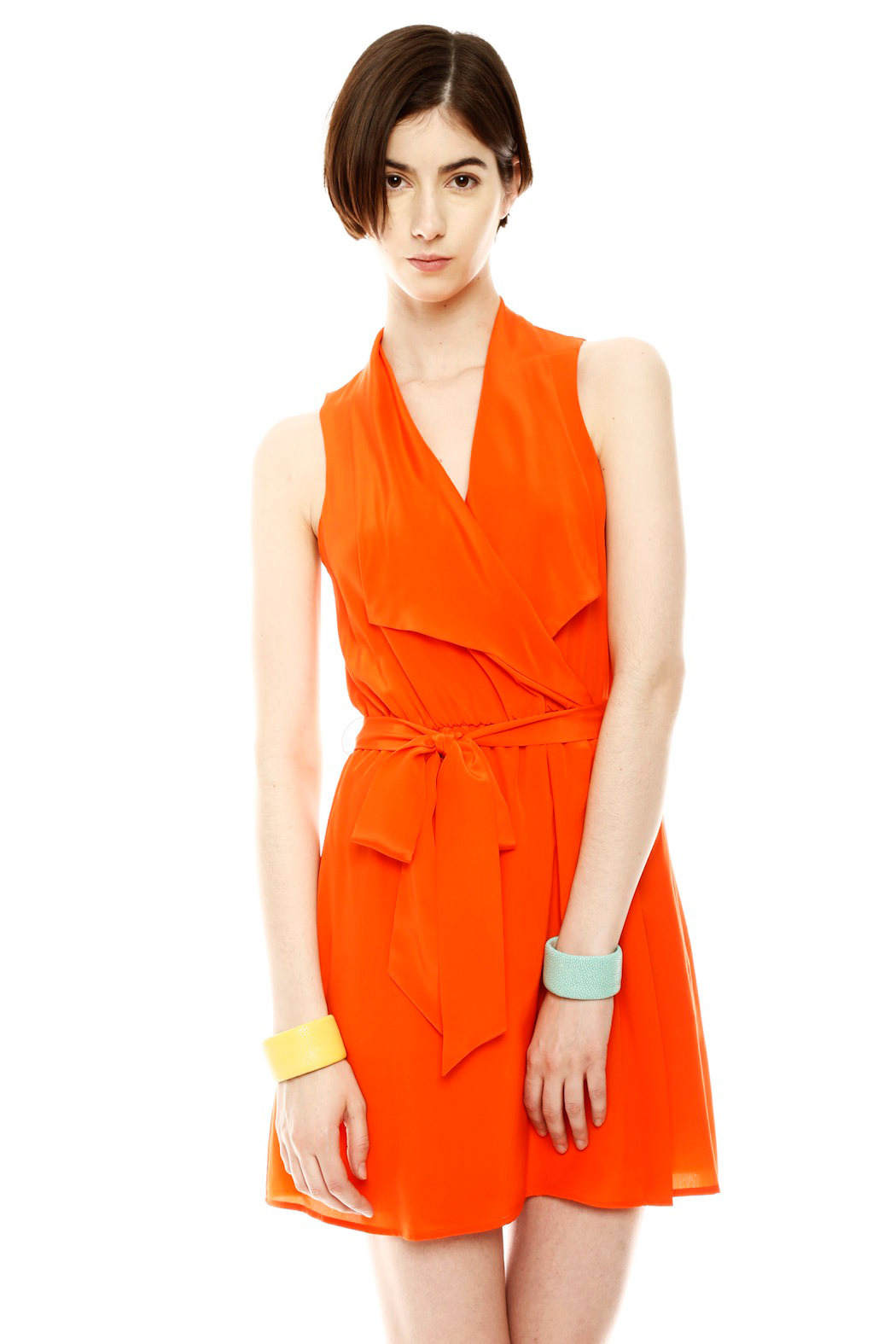 Ali Ro Belted V-Neck Dress - Front Cropped Image