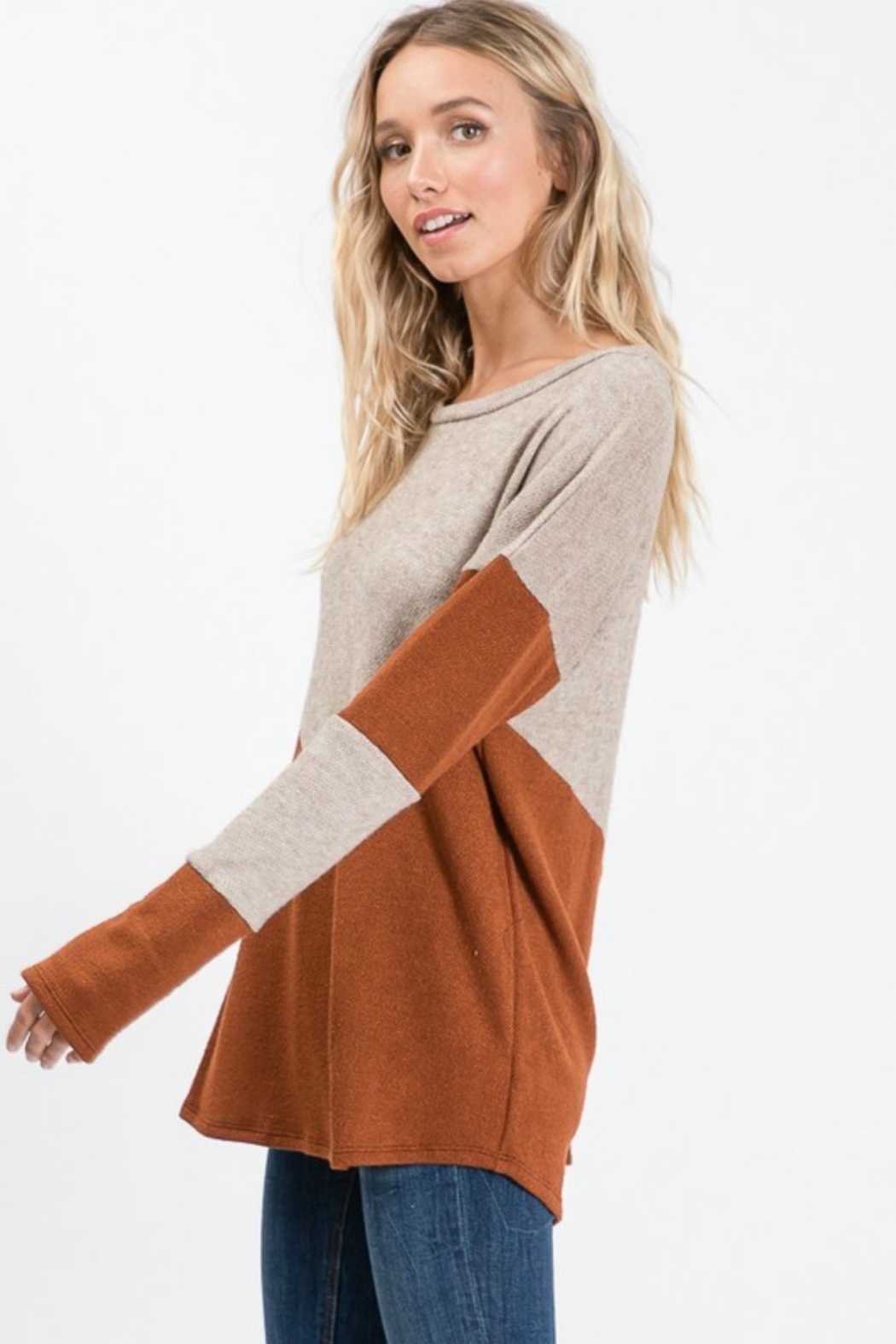 Cezanne 2TONE COLOR BLOCK SWEATER - Front Full Image
