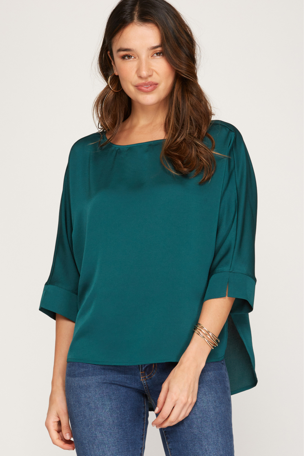 She and Sky 3/4 Batwing Sleeve Satin Top - Front Cropped Image