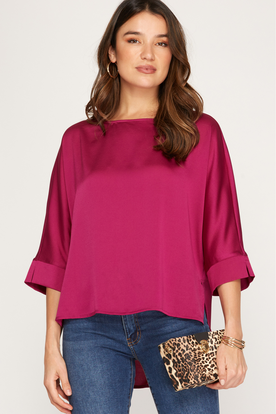 She and Sky 3/4 Batwing Sleeve Satin Top - Main Image