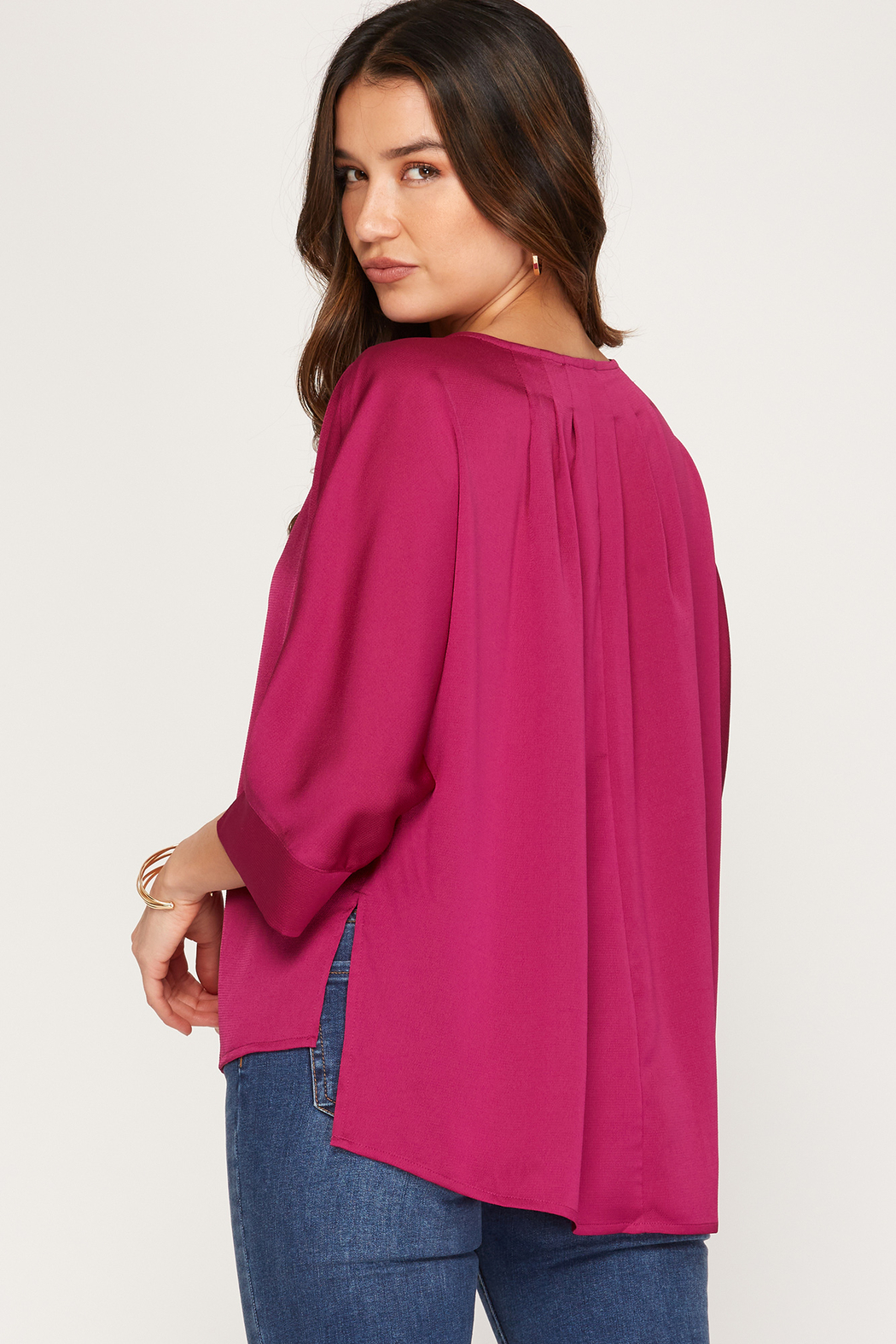 She and Sky 3/4 Batwing Sleeve Satin Top - Front Full Image