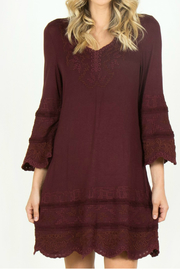 Monoreno 3/4 Bell sleeve embroidered knit dress - Product Mini Image