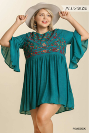 umgee  3/4 BELL SLV KEYHOLE DRESS - Front cropped