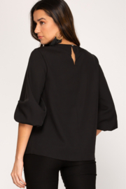 She and Sky 3/4 Bubble Sleeve Woven Top - Front full body