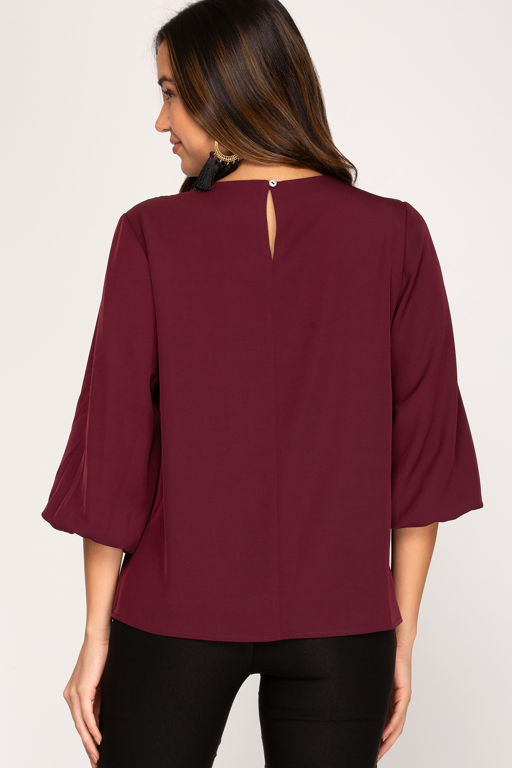 She and Sky 3/4 Bubble Sleeve Woven Top - Front Full Image