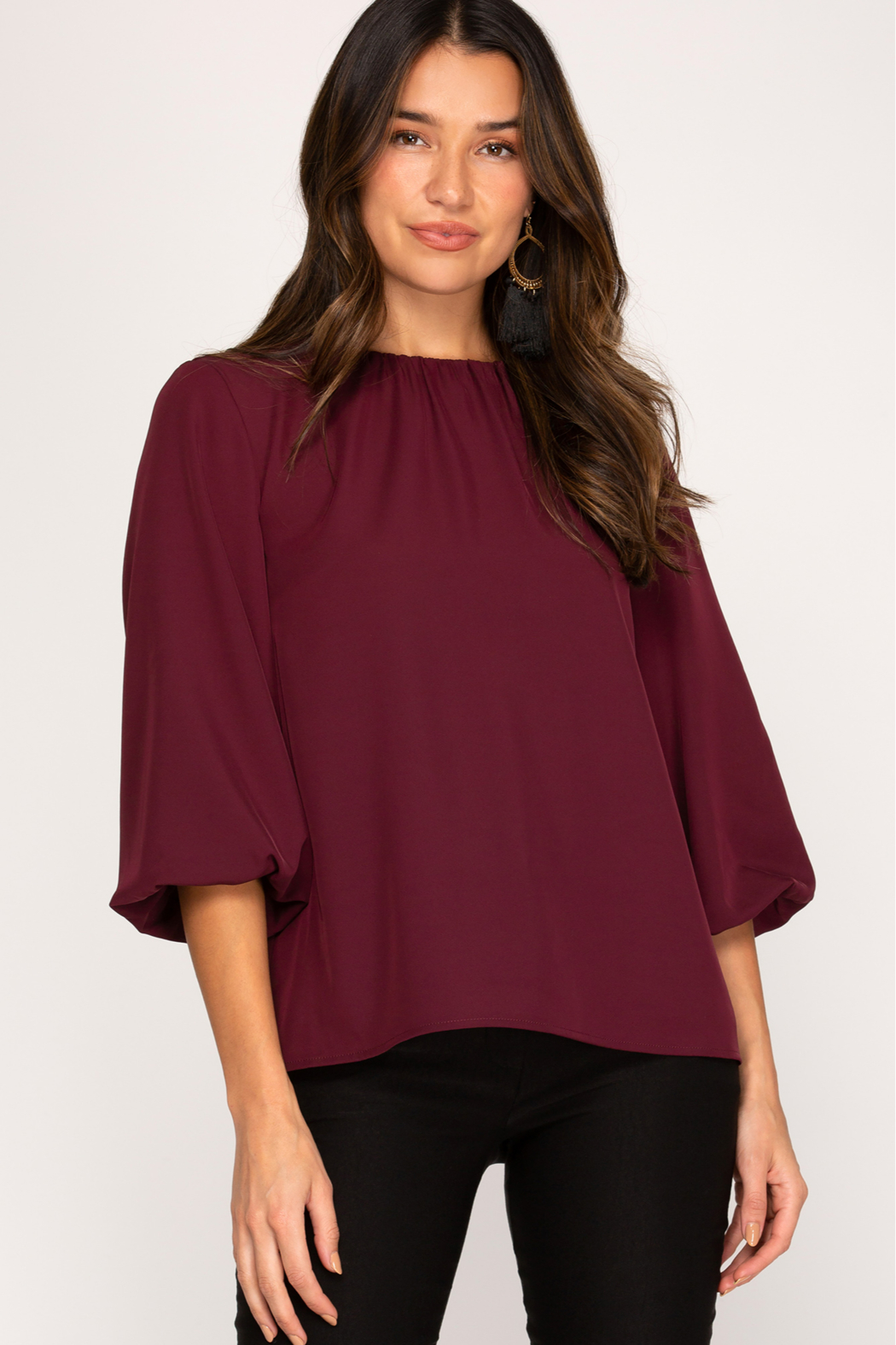 She and Sky 3/4 Bubble Sleeve Woven Top - Front Cropped Image