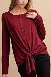 Lyn -Maree's 3/4 Button Down Knot Long Sleeve Tee - Front cropped