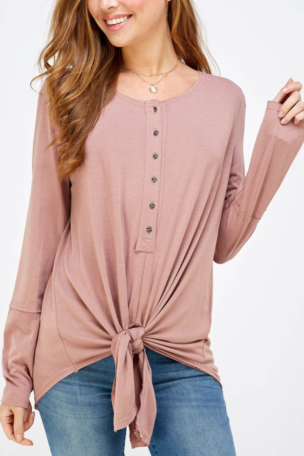 Lyn -Maree's 3/4 Button Down Knot Long Sleeve Tee - Main Image