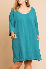 Umgee  3/4 Button Sleeve Round Neck Dress with Ruffle Frayed Hem - Product Mini Image