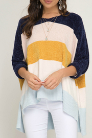 She + Sky 3/4 cuff sleeve chenille color blocked hi low sweater - Product Mini Image