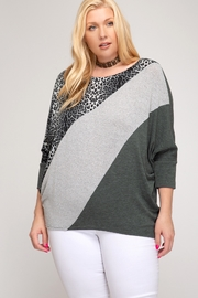 She and Sky 3/4 DOLMAN SLEEVE HACCI KNIT TOP WITH LEOPARD PRINT CONTRAST - Product Mini Image